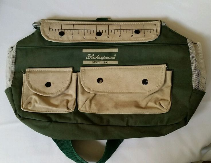 Vtg SHAKESPEARE Fishing Tackle Shoulder Bag Creel Canvas tote #Shakespeare