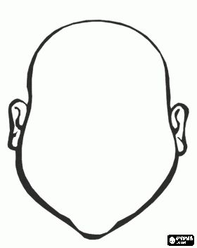 Contour head with blank face to draw coloring page