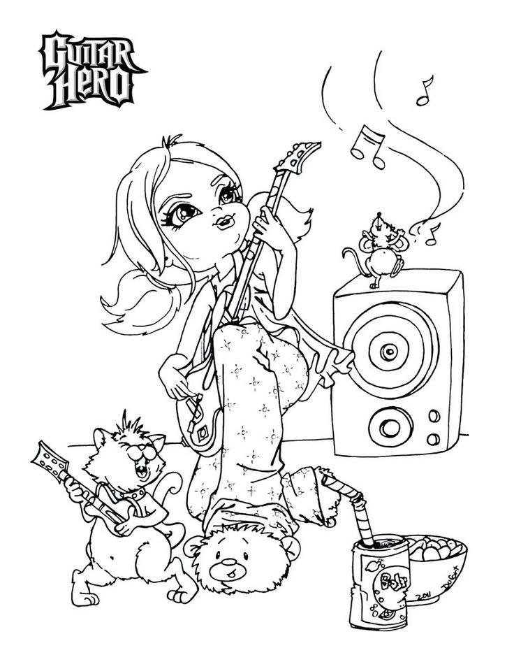 Guitar Hero Coloring Pages