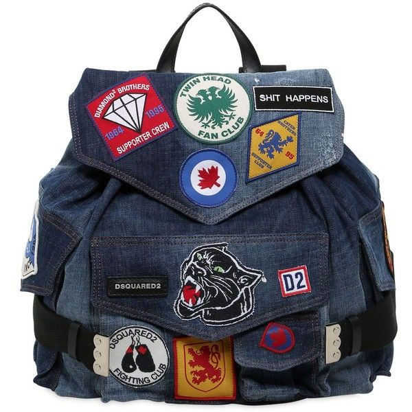 Dsquared2 Women Military Glam Patches Denim Backpack ($1,380) ❤ liked on Polyvore featuring bags, backpacks, denim, drawstring bag, drawstring backpack, draw string backpack, blue backpack and military bags