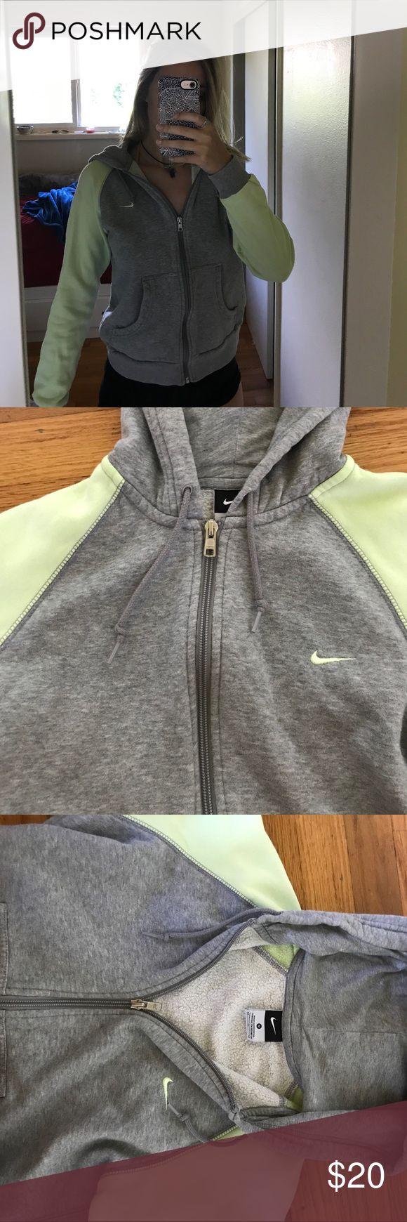 vintage Nike zip up Super cute nike zip up sweatshirt. Light grey and a faded lime green. Really cute and comfortable! Nike Jackets & Coats