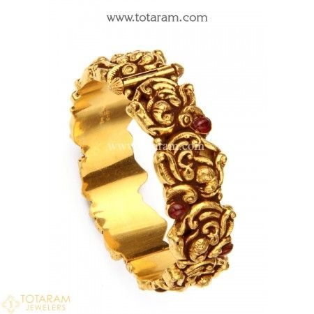 22K Gold Kada with Beads - Single Piece (Temple Jewellery) - 235-GK520 - Buy this Latest Indian Gold Jewelry Design in 38.450 Grams for a low price of  $2,159.75 #GoldJewelleryTemple