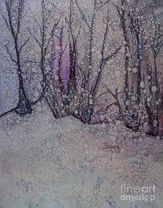 Alcohol Ink Painting - Winter Woods by Sari Sauls