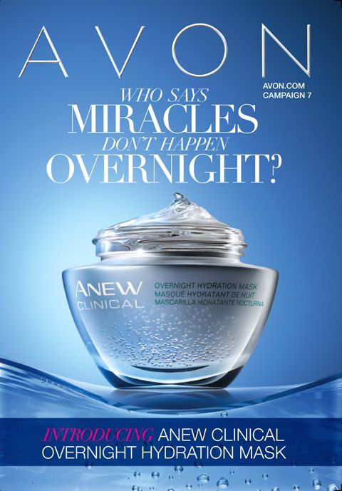 Avon Campaign 7 brochure featuring new Anew Clinical Overnight Hydration Mask!