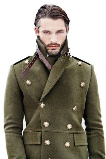 Olive Green Wool Military Style Coat with Brass Buttons. Men's Fall Winter Fashion.