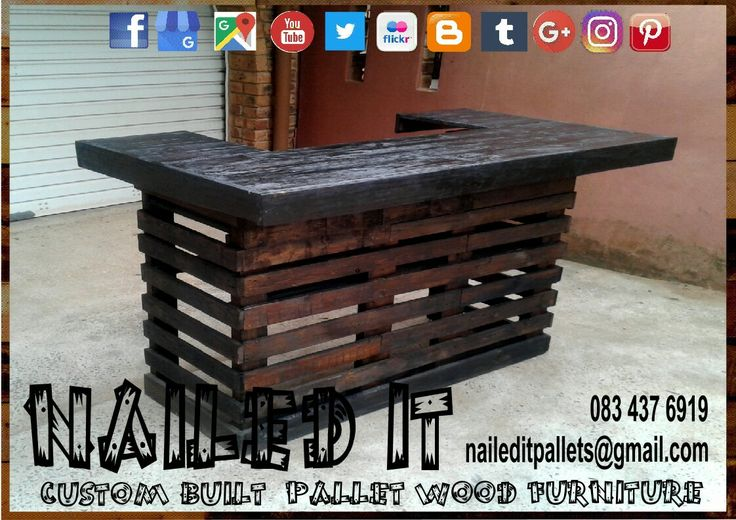 Pallet wood bar with elevated counter. Lowered working counter and bottom shelf. #palletfurniture #palletbar #palletwoodbar #palletbars #palletfurnituredurban #custompalletfurnituredurban #custompalletfurniture #palletfurnituredurban #naileditcustombuiltpalletfurniture