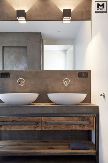 Modern Rustic Bathroom With Double Sink And Reclaimed Wood Cabinet. Part 34