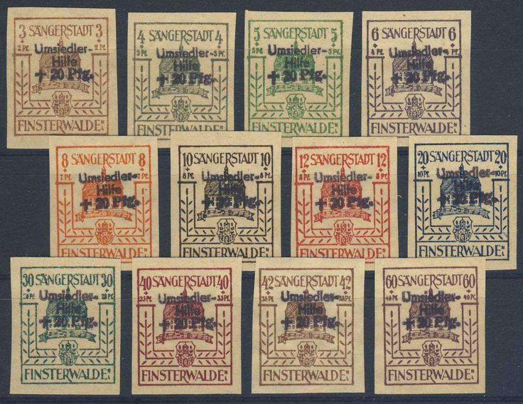 """German Local Issue, Finsterwalde 1946, """"Umsiedler-Hilfe"""", kompletter Satz, postfrisch Pracht, mit Genehmigung des Stadtkommandanten, Auflage 300 Sätze (postfr., Mi.-Nr.II-XIII/Mi.EUR 250,--). Price Estimate (8/2016): 100 EUR."""