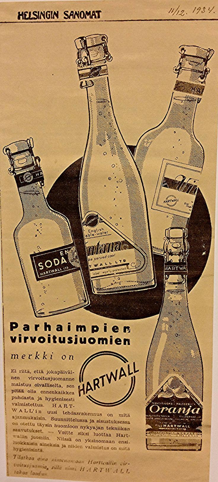 Hartwall mainos Helsingin Sanomissa vuonna 1934.