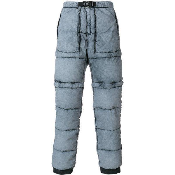 Stone Island puffer tracksuit bottoms (€500) via Polyvore featuring men's fashion et blue