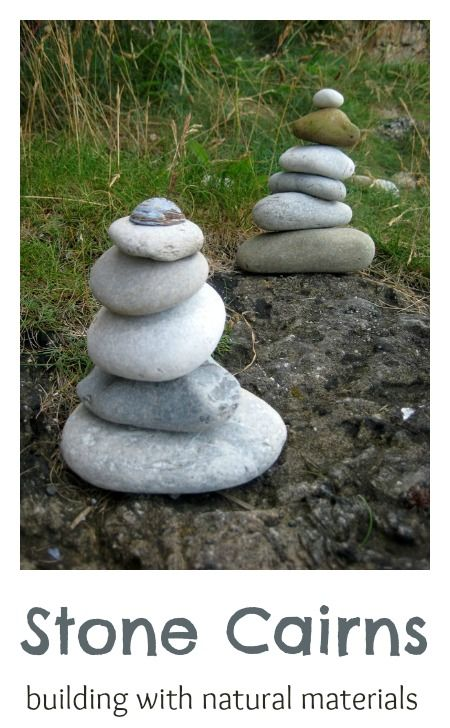 A fun idea to try: building towers using natural materials. Fun balancing challenge.