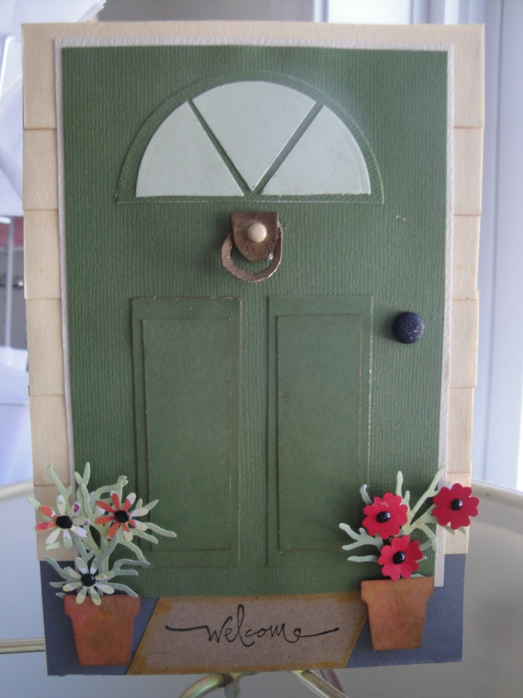 handmade card ... housewarming card with a paneled door and half circle window ... luv all of the design details ... Stampin' Up!