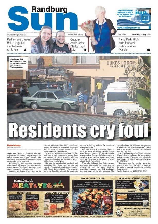 Randburg Sun, 24 July 2015 - a teaser for my 'Christmas in July / Mandela Day' story made it onto the front page