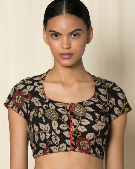 Buy Black & Beige Indie Picks Kalamkari Print Cotton Blouse