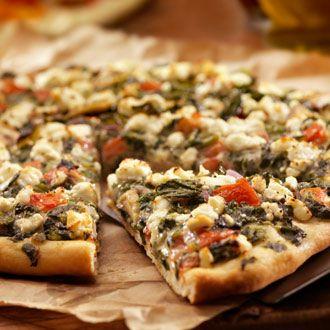 Mediterranean Pizza - Jillian Michaels Personally I would add artichokes and pesto roasted portobello mushrooms.
