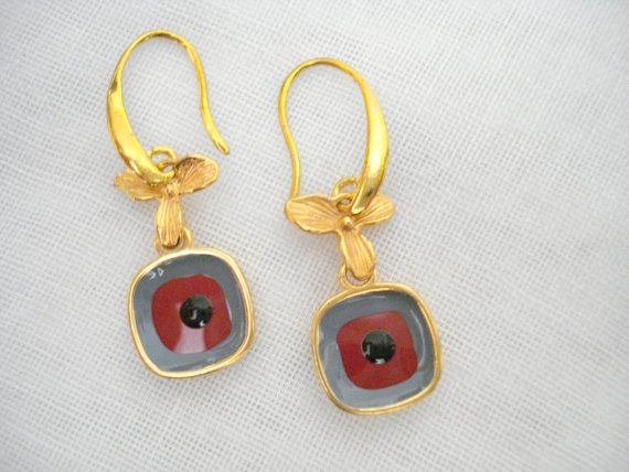 Square evil eye dangles Greek mati earrings Burgundy eye by Poppyg