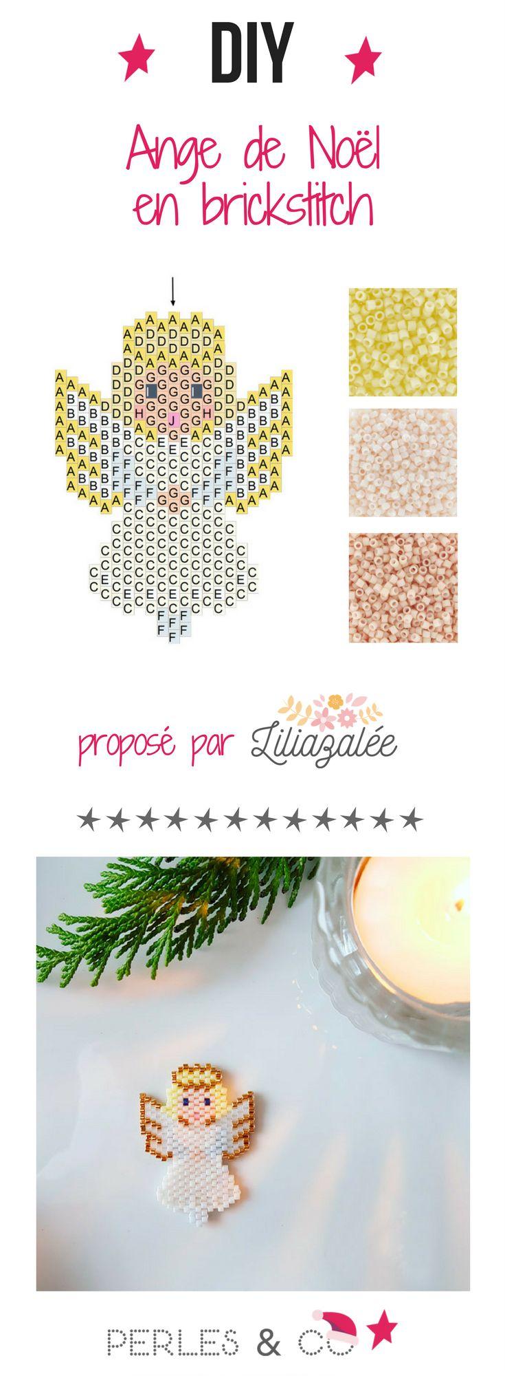Un petit ange de Noel passe dans le ciel ! Quelques perles Miyuki Delicas 11/0, du fil et une aiguille, une grille de tissage et hop, le tour est joué ! Vous tissez en brick stitch ce joli ange de Lili Azalée.