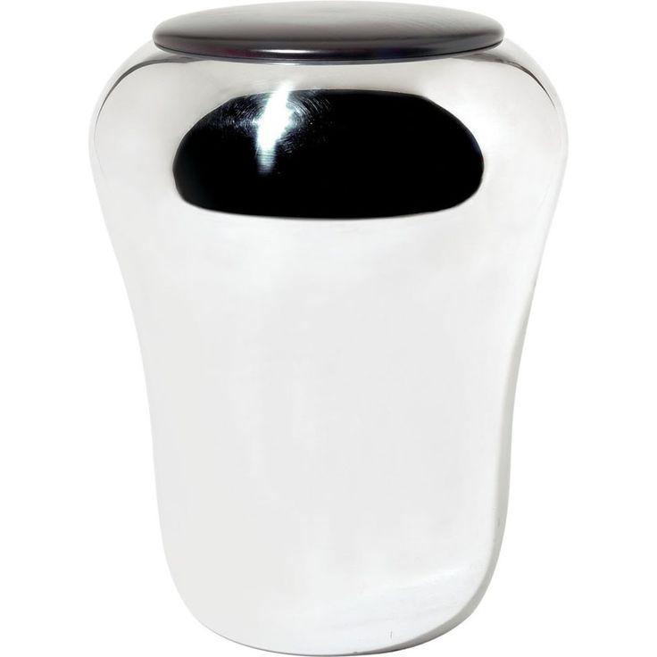 Alessi Modern Baba Laundry Hamper with Lid, Stainless Steel | NOVA68 Modern Design