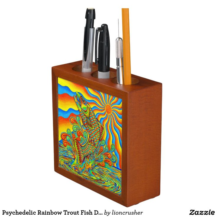 """Psychedelic Rainbow Trout Fish Desk Organizer by Rebecca Wang on Zazzle.  Keep your desk neat and tidy with a customized desk organizer. Beautiful colorful animal artwork adorns the front and back of this mahogany wood finished desk piece. Great for keeping clutter contained! Dimensions: 5"""" l x 5"""" w x 1.75"""" d Printed front and back on two 4.25"""" white ceramic tiles. Designed with three compartments."""