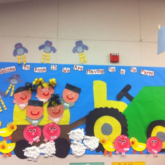 Farm bulletin board in my classroom that I put up for Open House this year