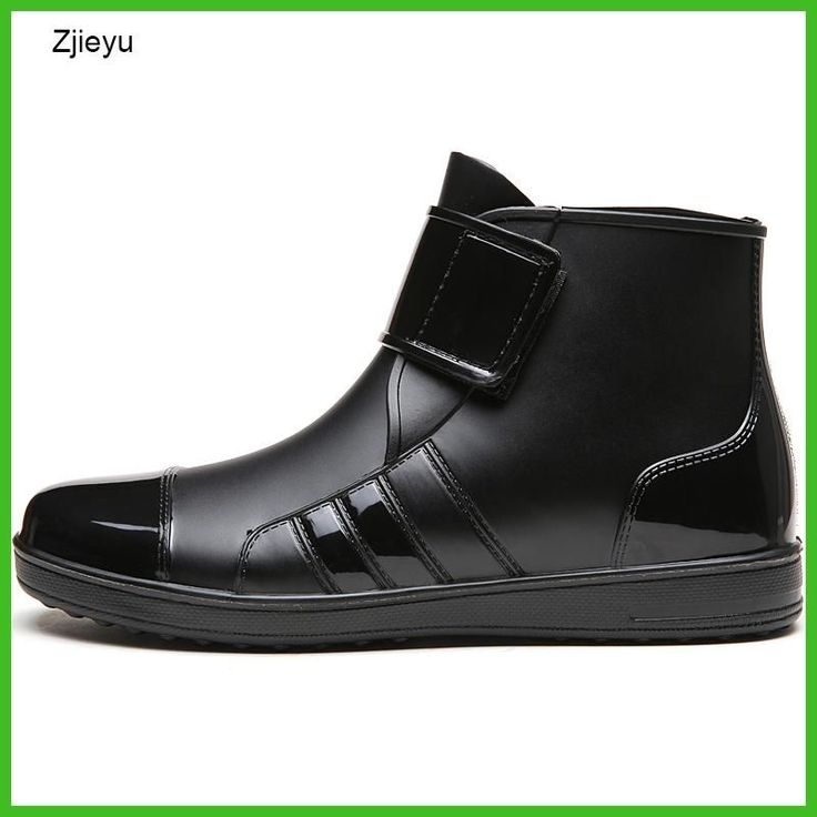 mens rubber rain boot chanclo PVC black short bot fishing boots chelsea boots light weight galoshes rainboots hook and loop #FishingBoots