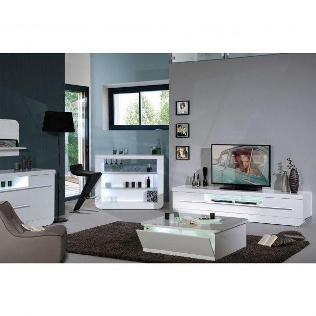 Meuble Tv Blanc Laque 220 Cm Avec Led Salon Pinterest Tv