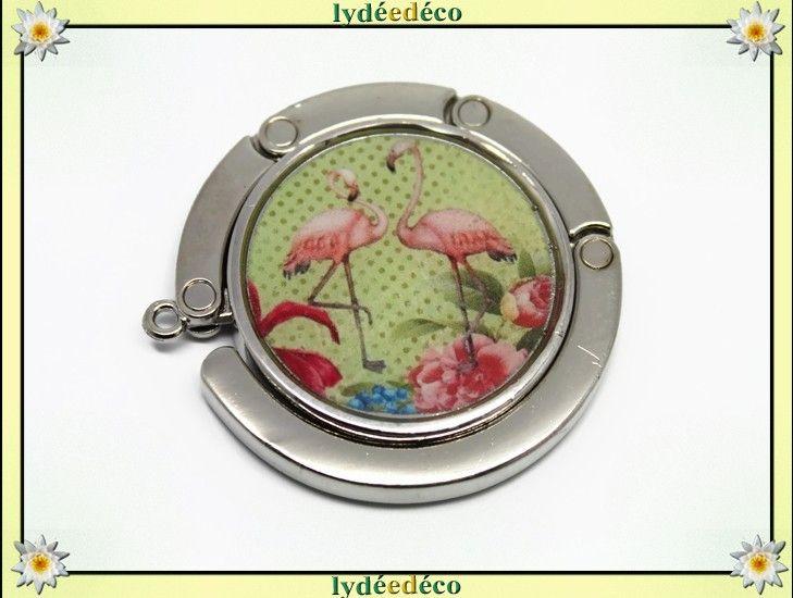 Accroche sac à main résine exotique Flamants rose flamingo fleurs rose bleu vert anis métal argenté diamètre 4,5cm