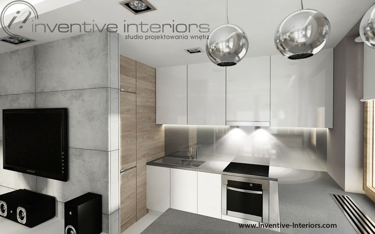 Projekt mieszkania Inventive Interiors - biało szara kuchnia
