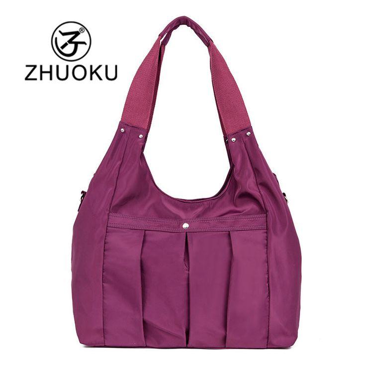 ZXCVBNM Women Handbag Casual Large Shoulder Bag Nylon Tote Famous Brand Purple Handbags Mummy Diaper Bag Waterproof bolsas WH124