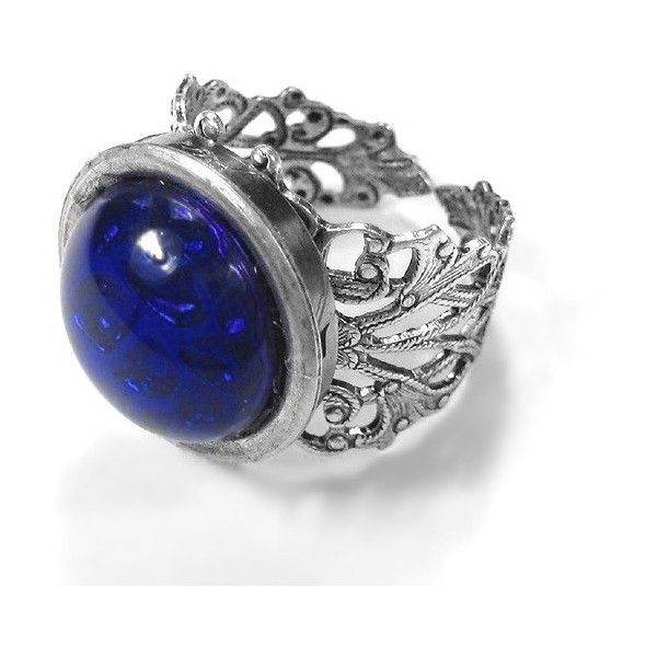 Steampunk Ring - Gothic Style SAPPHIRE Czech Glass Cabochon Silver... ($75) ❤ liked on Polyvore featuring jewelry, rings, steampunk, cabochon rings, steampunk rings, sapphire rings, sapphire jewelry and goth jewelry