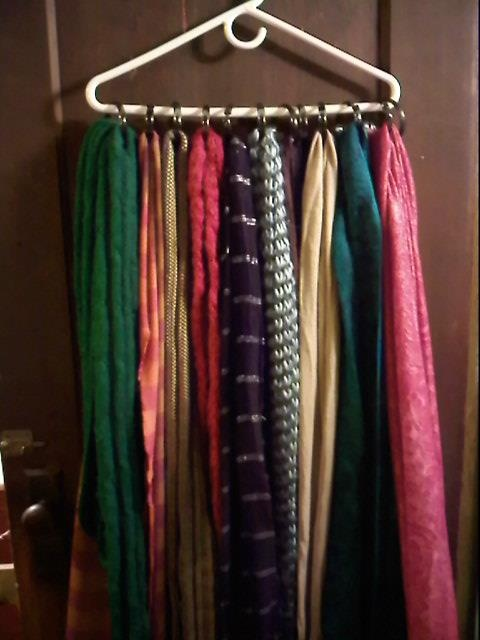 shower curtain holders and a strong hanger. Makes a great scarf holder!