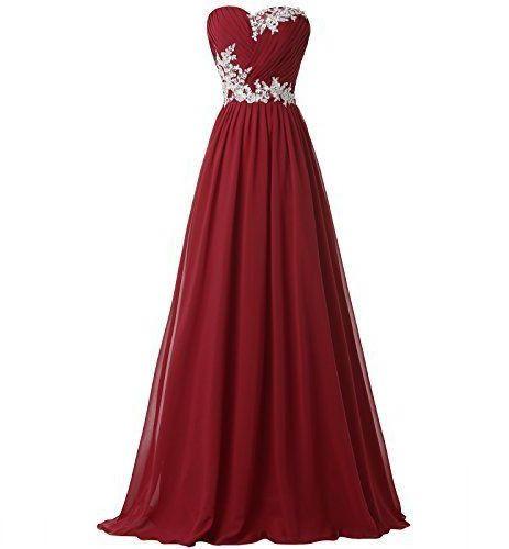 Strapless Burgundy Floor Length Chiffon Prom Dress