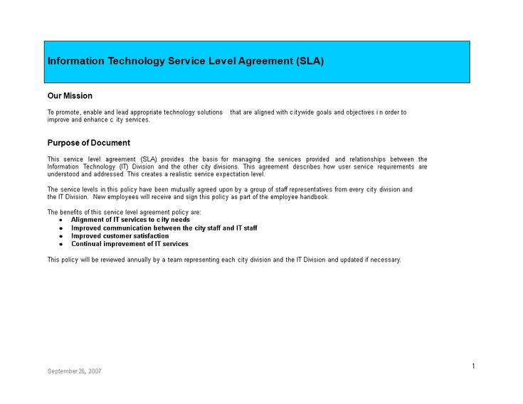 It Service Level Agreement How To Create An It Service Level