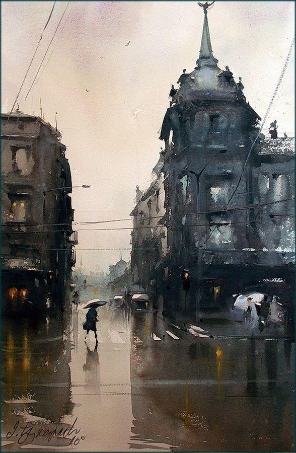 | Wet street (36x55 cm) [by Dusan Djukaric]