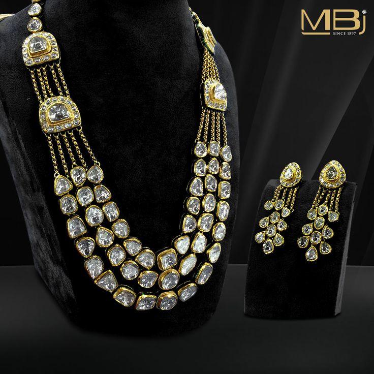 Polki Necklace set with Earrings #MBj #Luxury #Desirable #Traditional #JewelleryLove #Necklace #Polki #Earrings