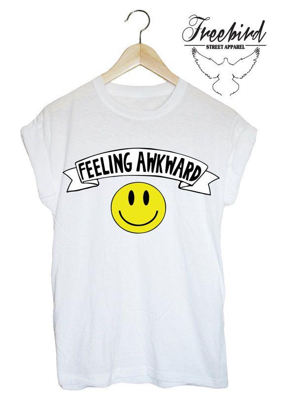 FEELING AWKWARD happy smiley face unisex by FreebirdApparelUK
