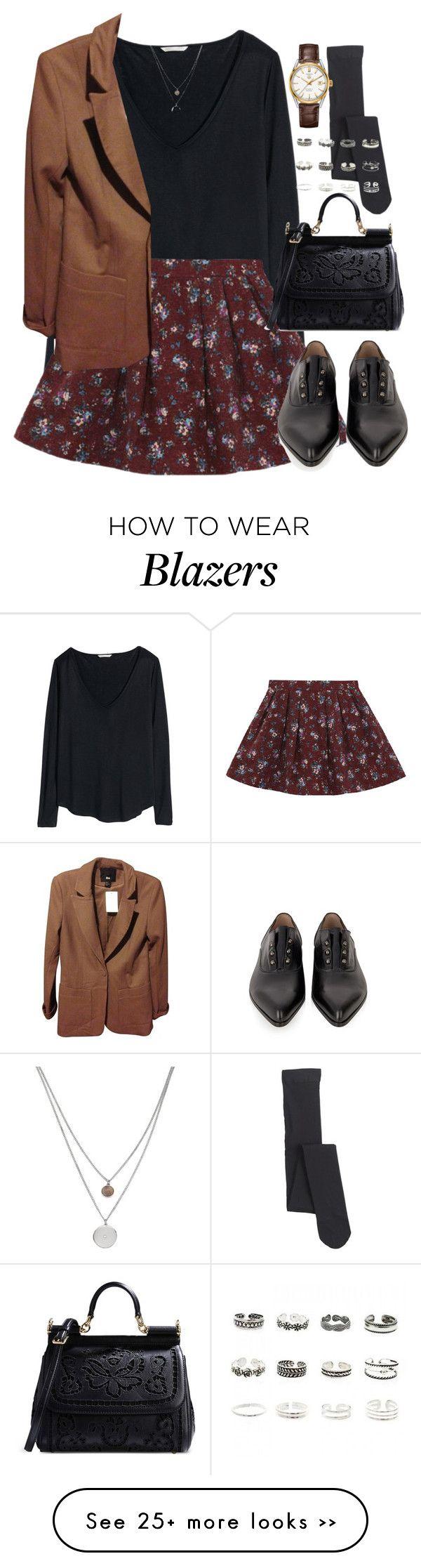 """Untitled #2919"" by peachv on Polyvore blazer, half sleeve shirt, patterned dress, socks, tights, oxfords"