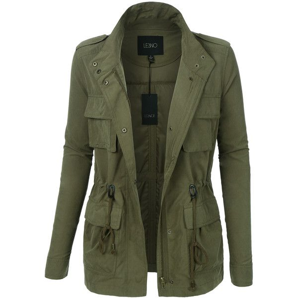LE3NO Womens Lightweight Stand Collar Utility Safari Military Jacket ($29) ❤ liked on Polyvore featuring outerwear, jackets, army jackets, long sleeve jacket, lightweight safari jacket, field jacket and light weight jacket