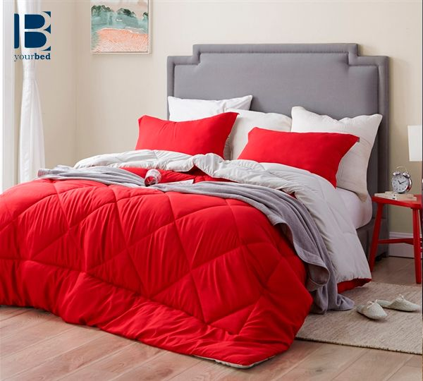 Make A Bold Statement With Your Oversized Bedding And Use A Bright Cherry Red Comforter With A Subtl Colorful Bedroom Decor Red Comforter Red Comforter Sets