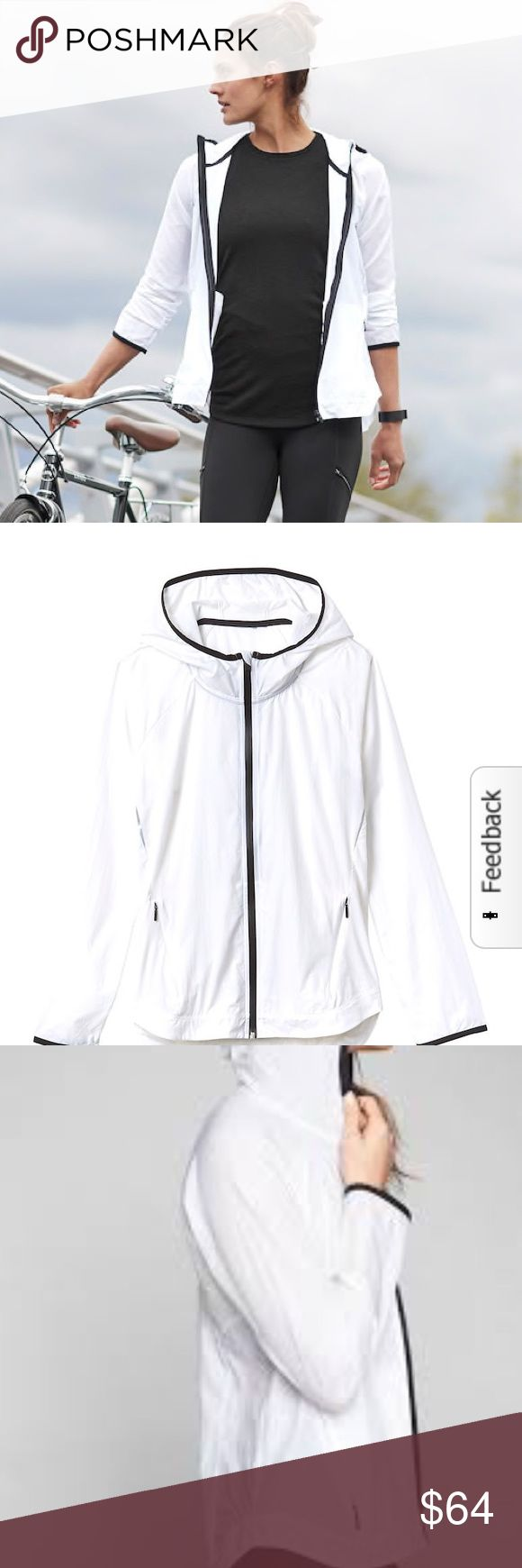 """NWT Athleta Stowe 2.0 Jacket NWT. No flaws. White with black piping; is pretty see- through. Online description: """"Ideal to have on hand when you need that extra layer to protect against the elements, this lightweight hiking shell features 360-degree reflectivity and mesh under the arms for ventilation. INSPIRED FOR: hike/explore, adventure To Fro, adventure travel 2 POCKETS: Front zip secure Reflective details where you want them Mesh for extra ventilation when things heat up #842603""""…"""