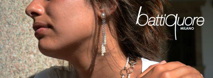 Battiquore Milano | Collezione Cascata orecchini in argento e perle coltivate d'acqua dolce. Silver Earring with freshwater pearl, italian design, jewel, jewelry, necklace, brand, cute, chic
