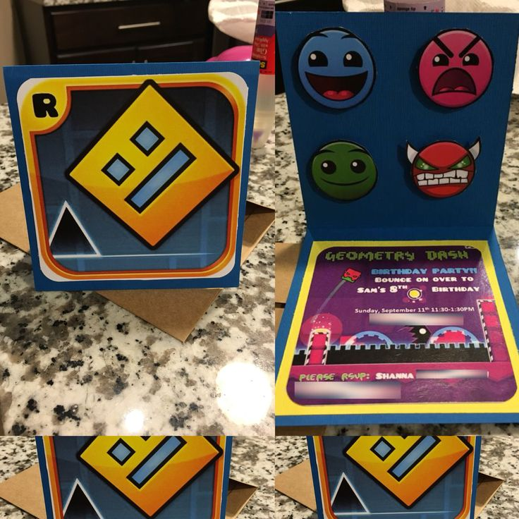 Geometry Dash Birthday invite. Downloaded Pusab & Oxygene_1 font for free on-line & made invite out of card stock. Printed characters & cut out. Mounted with Standoffs.
