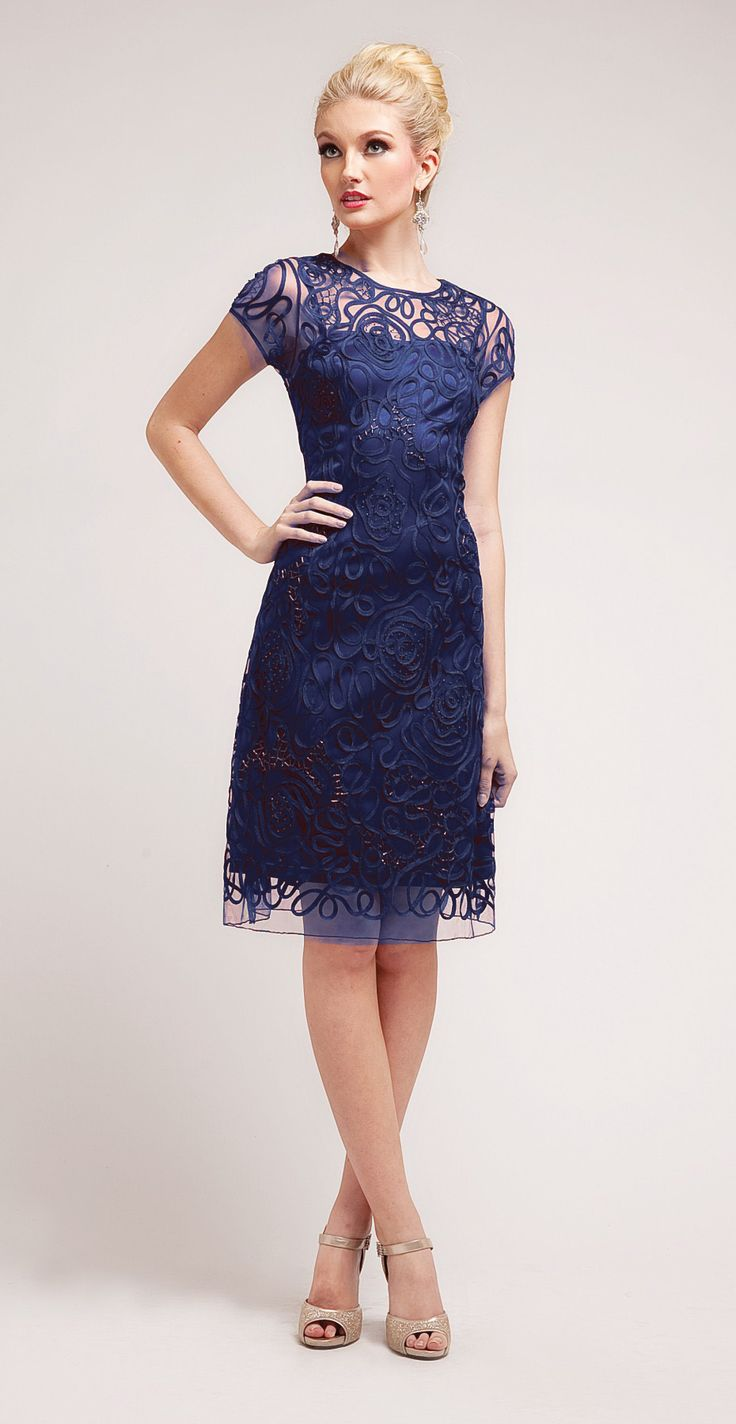 Semi Formal Knee Length Lace Navy Blue Dress Short Sleeve