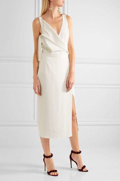 Dion Lee - Wrap-effect Crepe Dress - Ivory - UK10