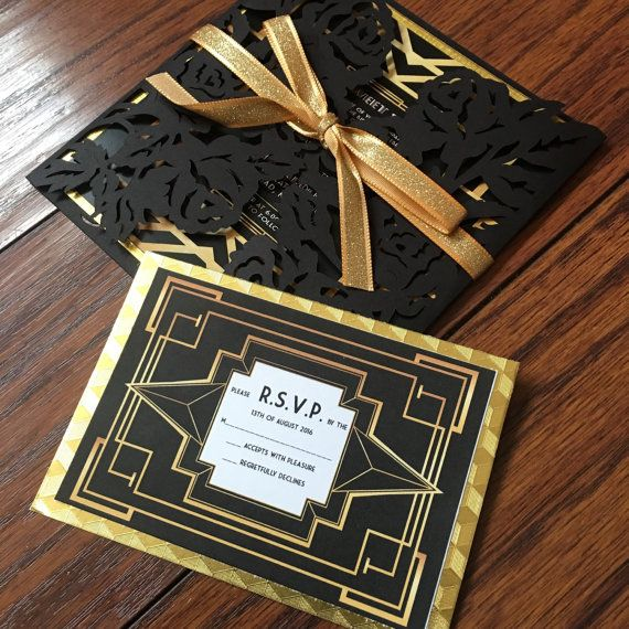 the great gatsby invitation along with rsvp card the great gatsby style invitations perfect for - Great Gatsby Wedding Invitations