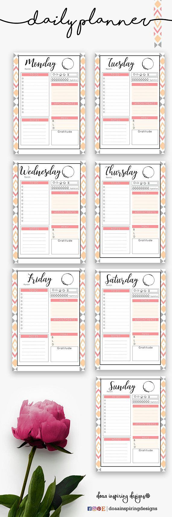 A5 Daily planner printable in Coral color, instant download, undated planner, Kiki k inserts, to do list, day organizer, goals list #ad #diy #planner