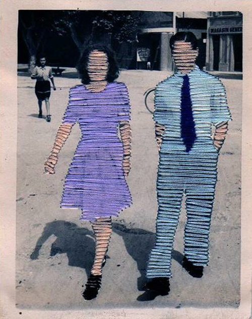Flore Gardner Ghosts (Couples) [Man and Woman] Embroidered photograph