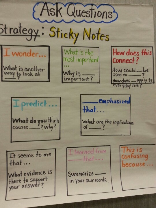 ask questions using sticky notes