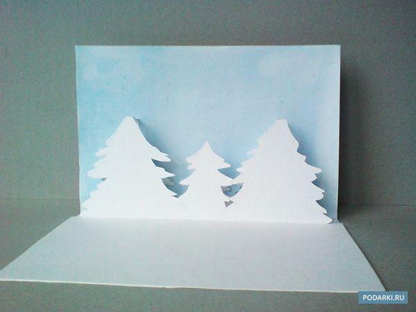 Советы от Подарков.ру | Поп-ап открытка «Заснеженный лес»