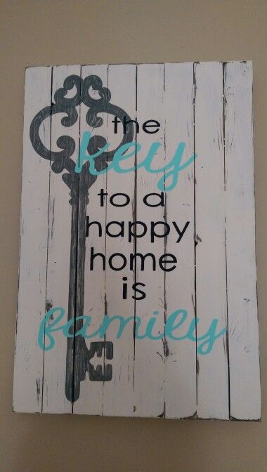 White, black, grey and teal with skeleton key. Custom sign. Love!